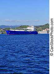 gas tanker - liquefied natural gas tanker LNG in the gulf of...