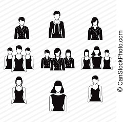 icon - vector illustration of office woman suit icon  set