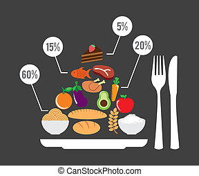 healthy food over gray background vector illustration