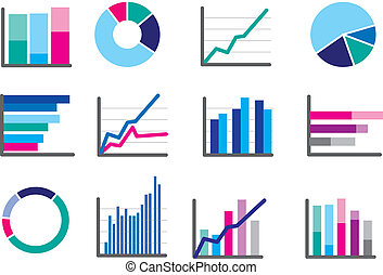 icons of financial data money or performance graphs - modern...