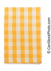 yellow napkin on white - yellow napkin isolated on white...