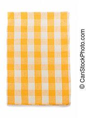 yellow napkin on white - yellow napkin isolated on white...