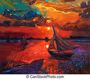 Fishing boat - Original abstract oil painting of fishing...