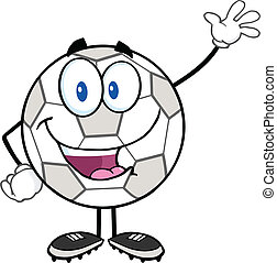 Soccer Ball Waving For Greeting - Happy Soccer Ball Cartoon...