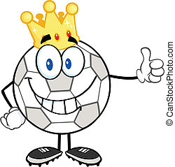 Soccer Ball With Golden Crown - Smiling Soccer Ball With...