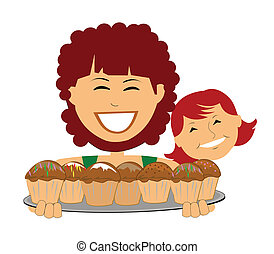 Maman, fille, cuisson, muffins clip art