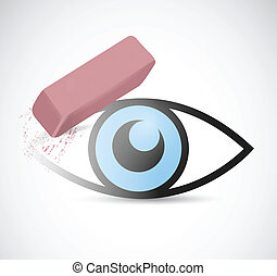 eye being erase illustration design over a white background