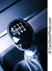 Lever of manual transmission in auto, vehicle - Interior of...