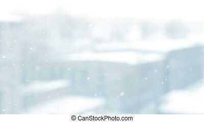 snowing outside - winter and weather concept - snowing...