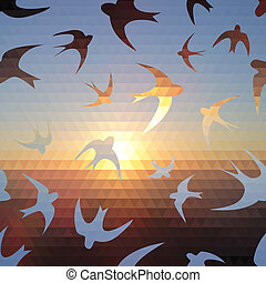 swallow silhouette on triangle sky and sun. Use as a...