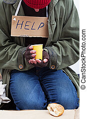 Homeless with a cup of tea