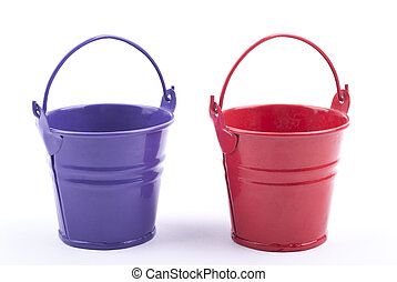 Two iron buckets on white background.