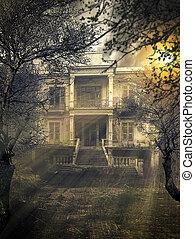 assustador, assombrado, casa