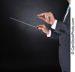 Orchestra Conductor Holding Baton - Close-up Of Orchestra...