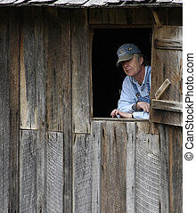 19th Century Wheat Mill and Miller - Wheat Mill operator...