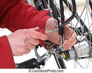 Bicycle repair, close-up - Reparation of a broken bicycle...