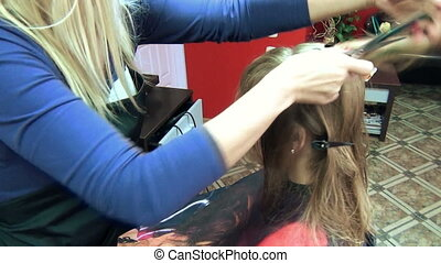 stylist hair model - hair stylist models cut of long blond...