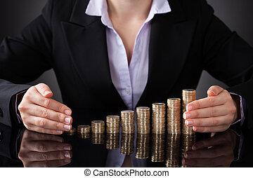 executiva, protegendo, a, moedas