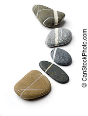 Five stepping stones with white stripes arranged to a curve....