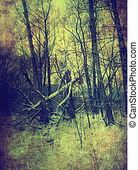 Vintage winter landscape - Grunge old textured background...