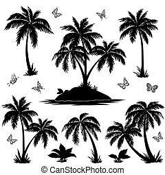 Tropical island, palms and butterflies silhouettes -...