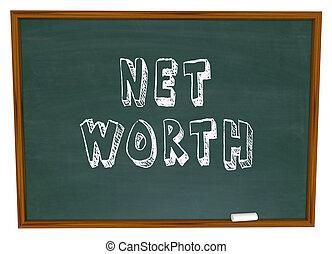 Net Worth words written on school chalk board to illustrate...