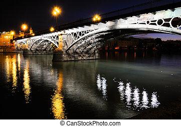 Triana, Puente, encima, Guadalquivir, río, ocaso,...