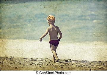 gyalogló, tengerpart, fiatal, gyermek