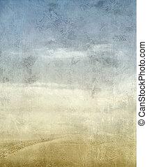 vintage landscape with sky