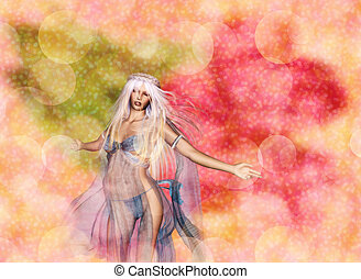 3D Woman on Bokeh Background - Dreamy background with 3d...