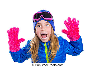 blond kid gir winter snow portrait with open hands pink...