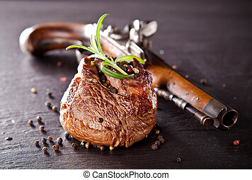 Fresh beef steak on black stone - Piece of red meat steak...