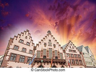 Frankfurt, Germany. Colourful buildings of Roemerberg Square...