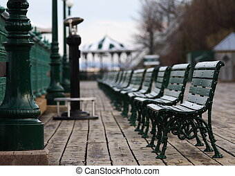Empty bench - Typical scene from Quebec City: The benches in...