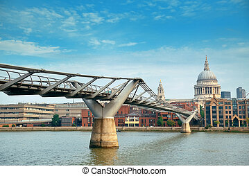 London - St Pauls Cathedral and Millennium Bridge in London
