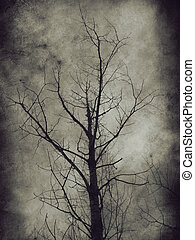 Dark trees - Dark grunge paper background with bare trees