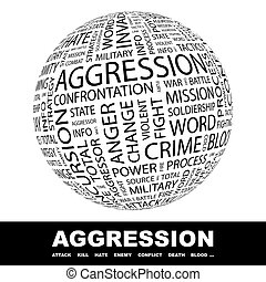 AGGRESSION Concept illustration Graphic tag collection...