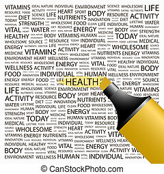 HEALTH. Concept illustration. Graphic tag collection....