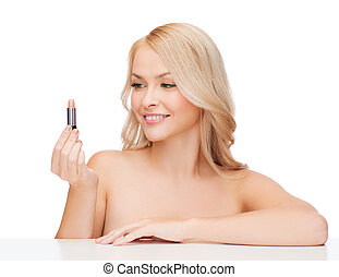 beautiful woman with pink lipstick - cosmetics, health and...