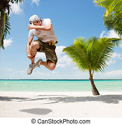 male dancer jumping in the air - dance, summer and holidays...