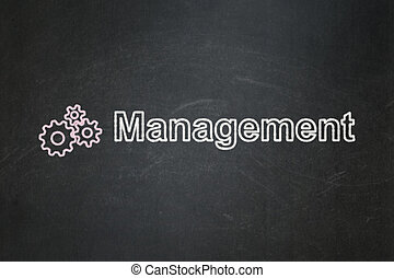 Business concept: Gears and Management on chalkboard background