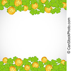 Illustration greeting background with shamrocks and golden coins for St. Patrick's Day - vector