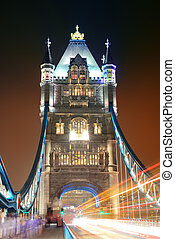 Tower Bridge at night - Tower Bridge in London with busy...