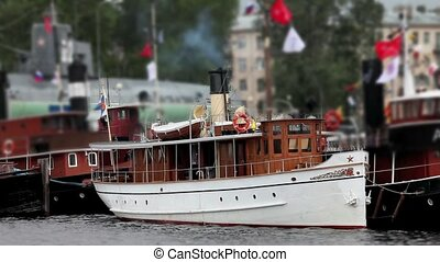 Old steamship at anchor Festival steamships in St Petersburg...