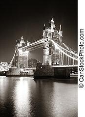 torre, Puente, noche, negro, blanco