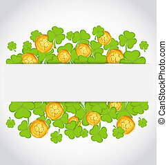 Illustration celebration card with clovers and golden coins...
