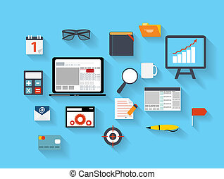 Business and Office Flat Icons Vector Ilustration