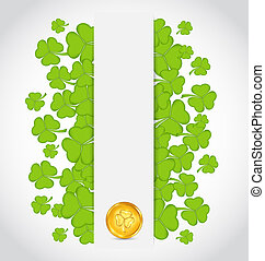 Illustration celebration card with clovers and golden coins for St. Patrick's Day - vector