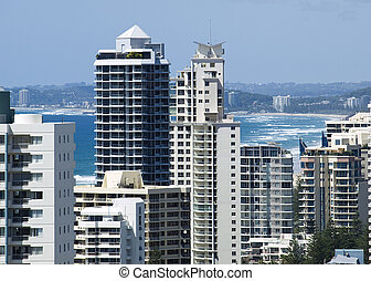 Gold Coast Australia holiday highrise towers - birdseye view...