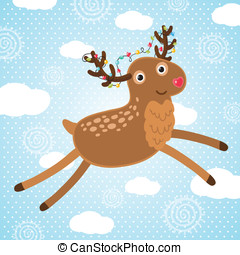 Merry Christmas greeting card with deer.